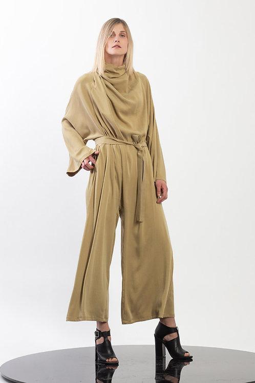 Oversize jumpsuit  with oblique drapped neck