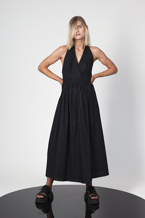 Halter neck jumpsuit with paneled skirt