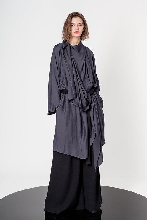 Raglan dress with draped flaps