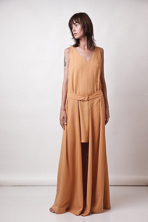Mini dress with maxi skirt