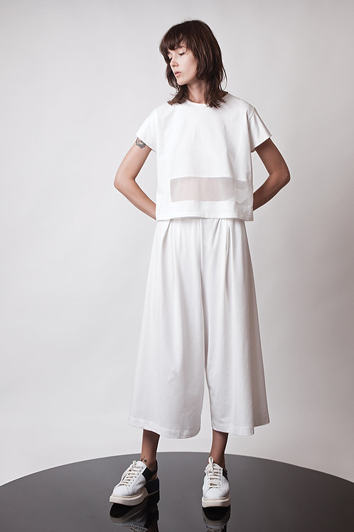Loose pleated jersey pants
