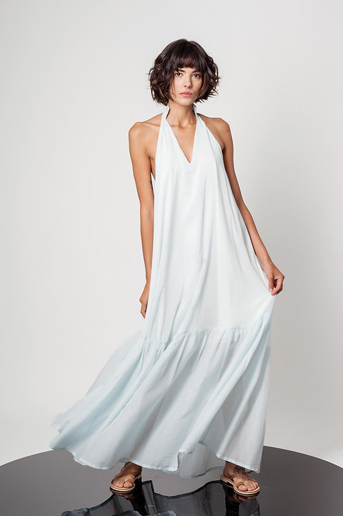 Open back ruffle dress
