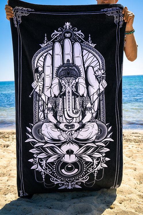 Black Ganesh Ucstr beach towel billx label