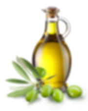 Olive branch and olive oil bottle isolat