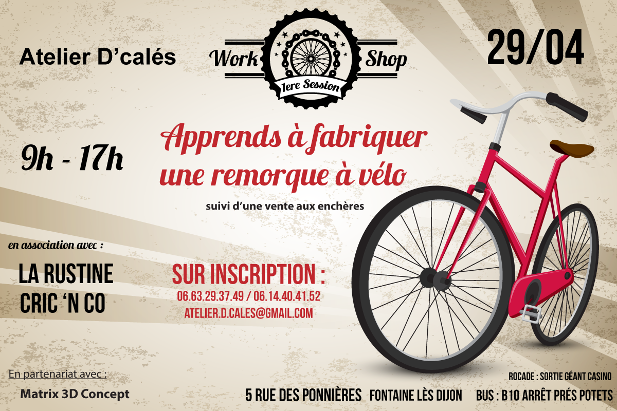 affiche workshop remorque à vélo