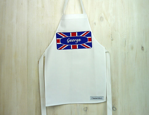 Union Jack Personalised Toddler Apron : Blue & Red