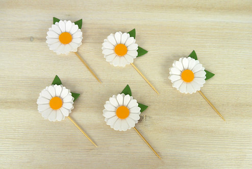 Daisy Cupcake Toppers - Set of 6