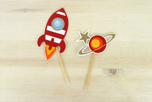Rocket & Planet Cupcake Toppers - Set of 6