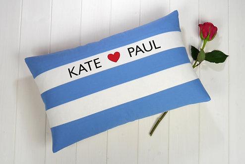 Cornish Folly Heart Blue Cushion