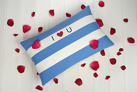 Cornish Blue Stripe I Love You Cushion.j