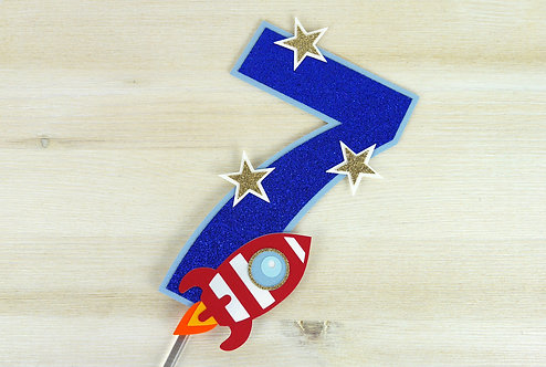 Rocket Number Cake Topper