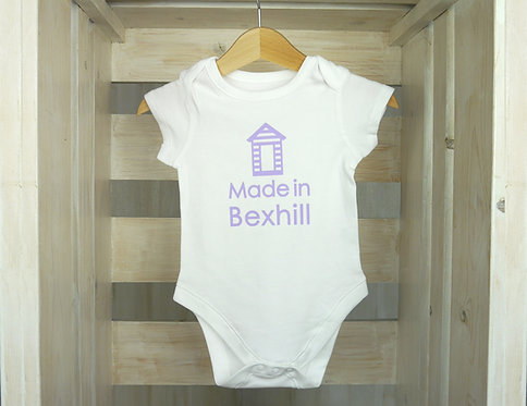 Beach Hut Town Baby Grow