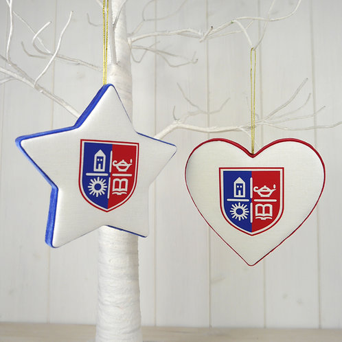 TASIS White Padded Star & Heart Decorations