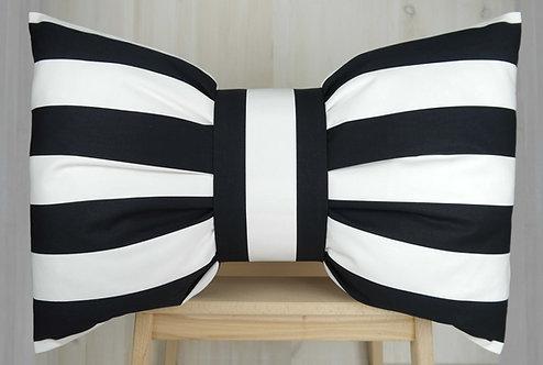 Bow Cushion - Black & White Stripe