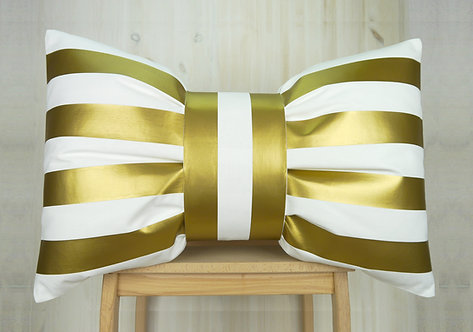 Bow Cushion - Gold & White Stripe