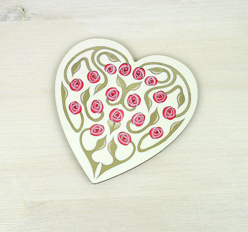 Rosebud Heart Coaster