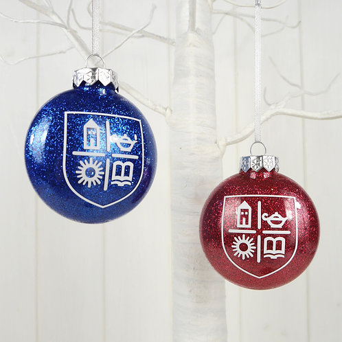 TASIS Red & Blue Glitter Disk Bauble