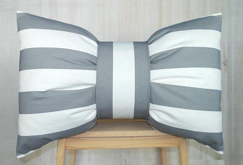 Bow Cushion - Grey & White Stripe