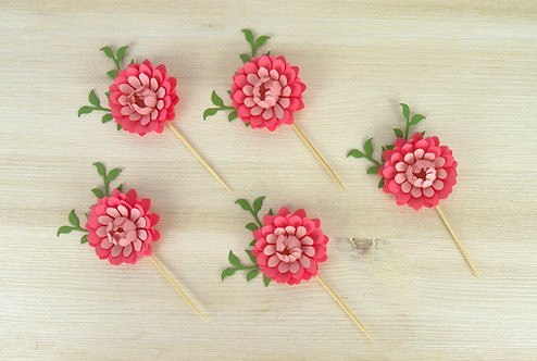 Coral & Pink  Peony Cupcake Toppers - Set of 6