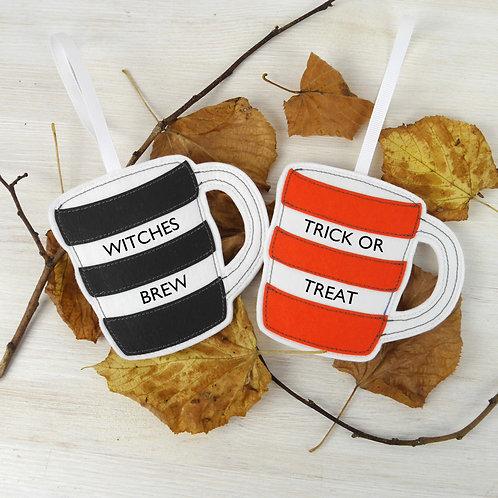 Cornish Folly Stripe Halloween Mug Decorations