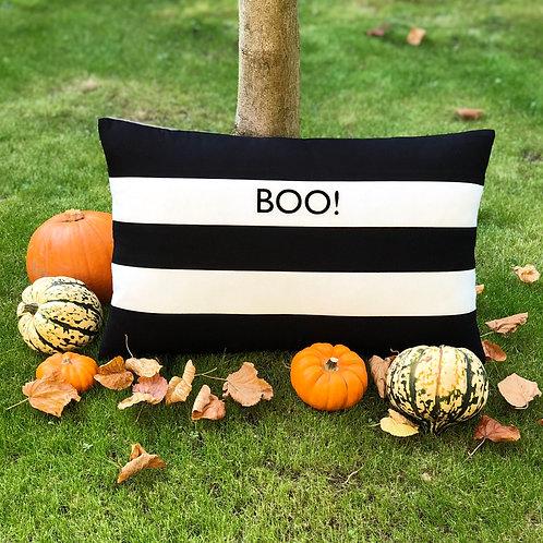 Cornish Folly Black Halloween Stripe Cushion