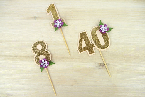 Purple Peony Number Cupcake Toppers - Set of 6