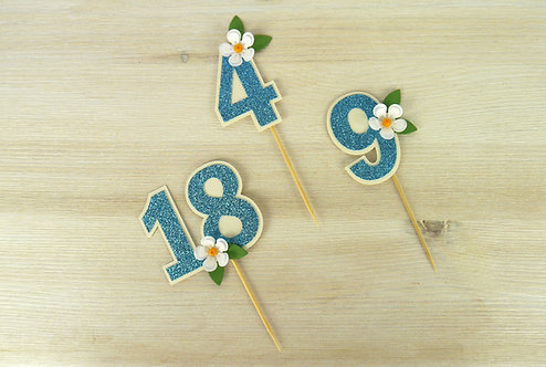 Daisy Number Cupcake Toppers - Set of 6