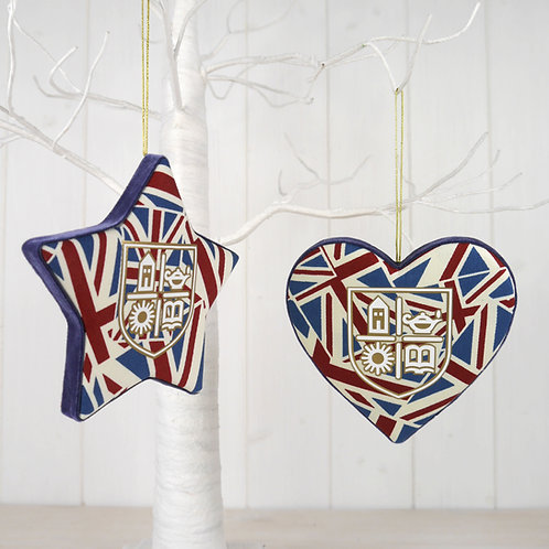 TASIS Union Jack Padded Star & Heart Decorations