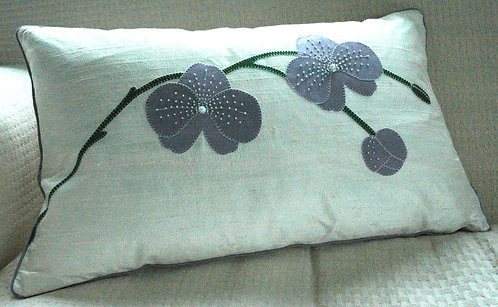 Lilac Silk Beaded Orchid Cushion