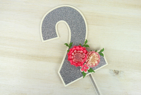 Pink Peony Number Cake Topper