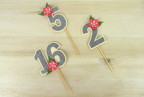 Pink Peony Number Cupcake Toppers - Set of 6