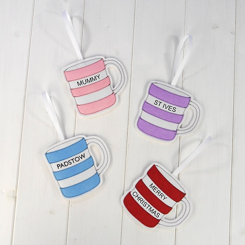 Cornish Stripe Classic Mug Decoration
