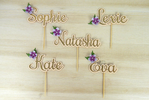 Purple Peony Personalised Name Cupcake Topper