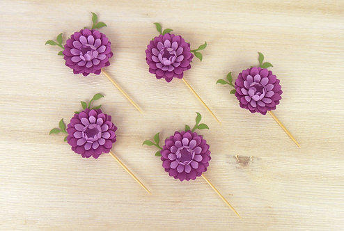 Purple & Lilac Peony Cupcake Toppers - Set of 6