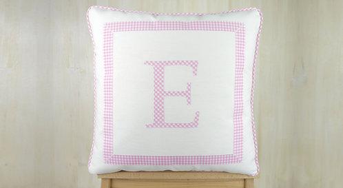 Framed Letter Cushion : Pink Gingham