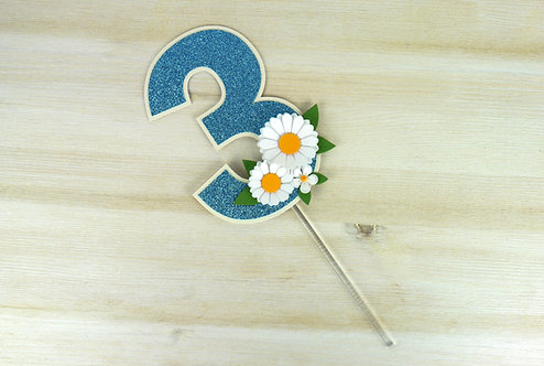 Daisy Turquoise Number Cake Topper