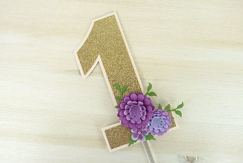 Purple Peony Number Cake Topper