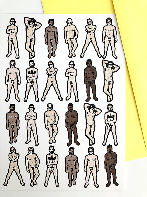 Nude Dudes Greeting Cards Set of 8