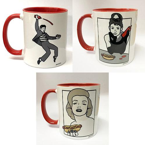 Set of Three Hot Dog Mugs