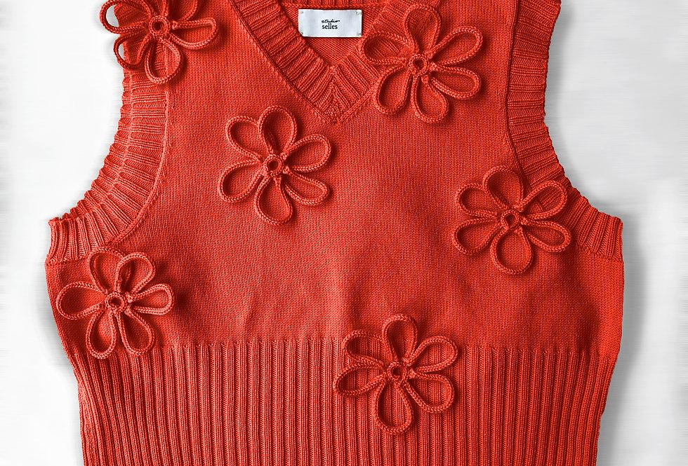 Flower vest - cotton red M/L