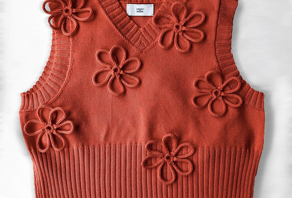 Flower vest - merino brick S/M