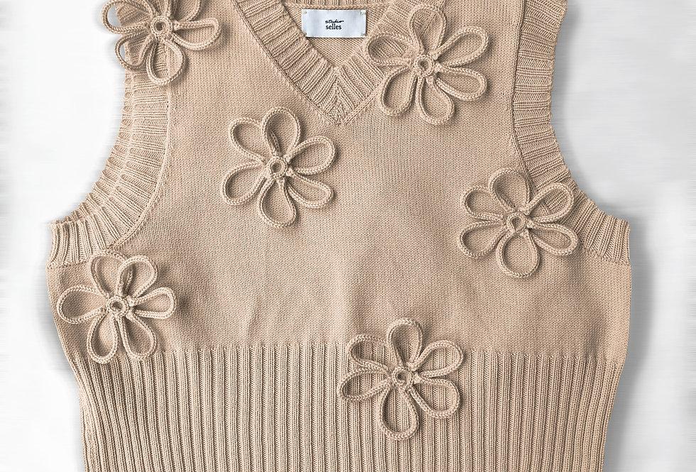 Flower vest - cotton oatmeal M/L
