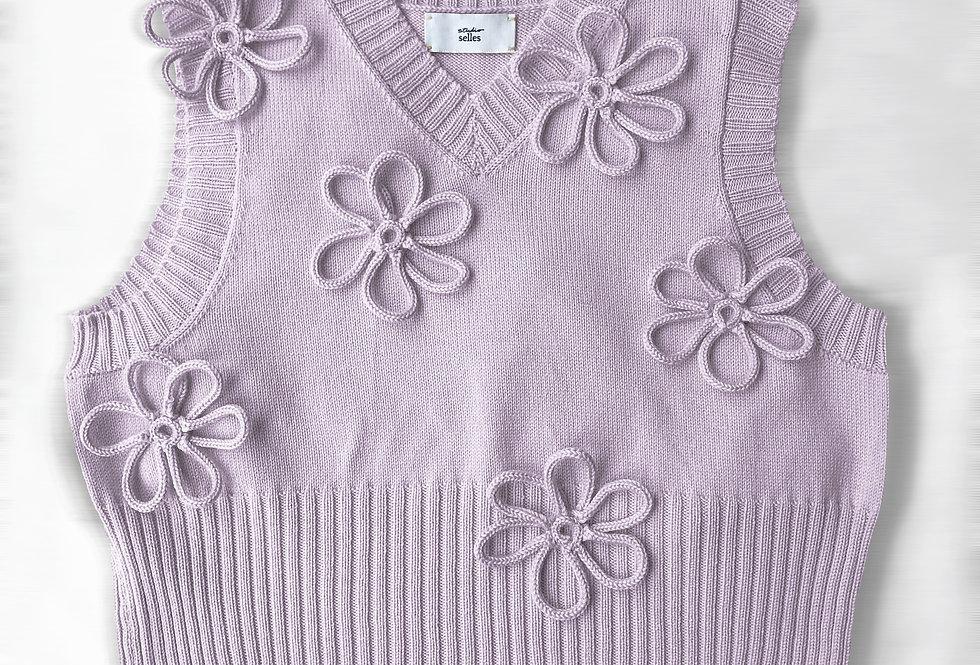 Flower vest - cotton lilac M/L