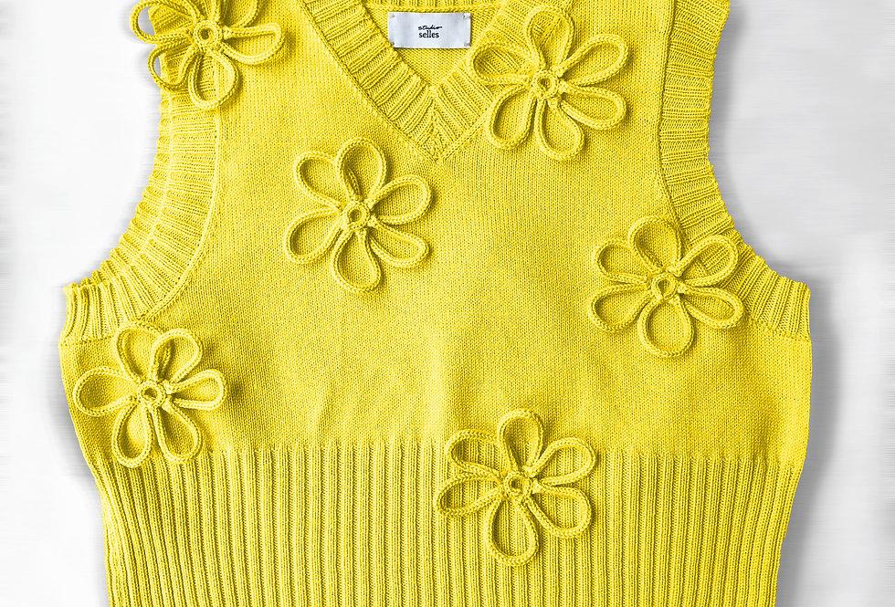 Flower vest - cotton yellow S/M