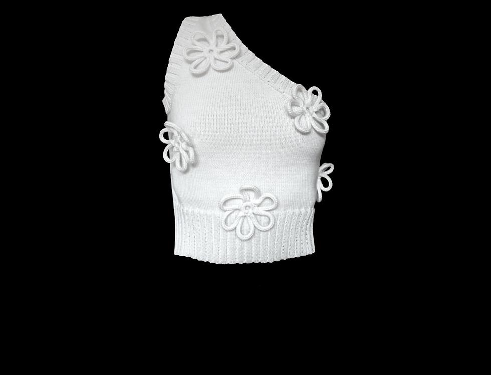 Flower one shoulder top