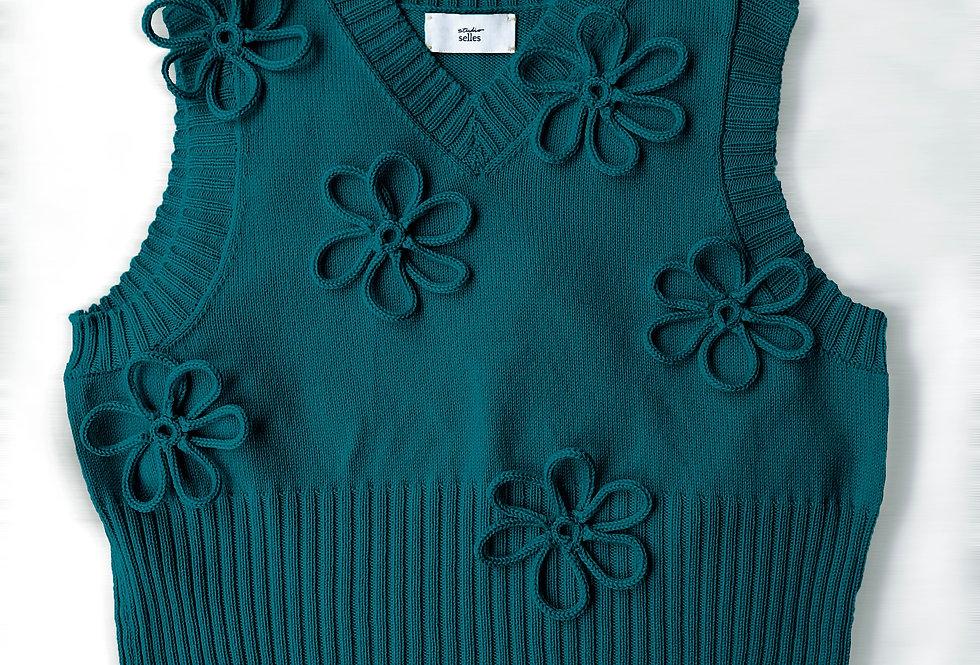Flower vest - merino teal M/L