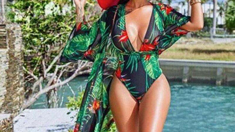 Plus Size Classy Leaf  Bathing Suit