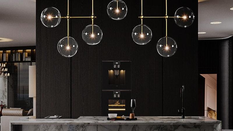 Postmodern Iron Glass Black Gold LED Light for Dinning Room