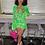 Thumbnail: 2021 Summer Gauze Vintage Floral Printed Long Bell Sleeve V-Neck Mini Dress
