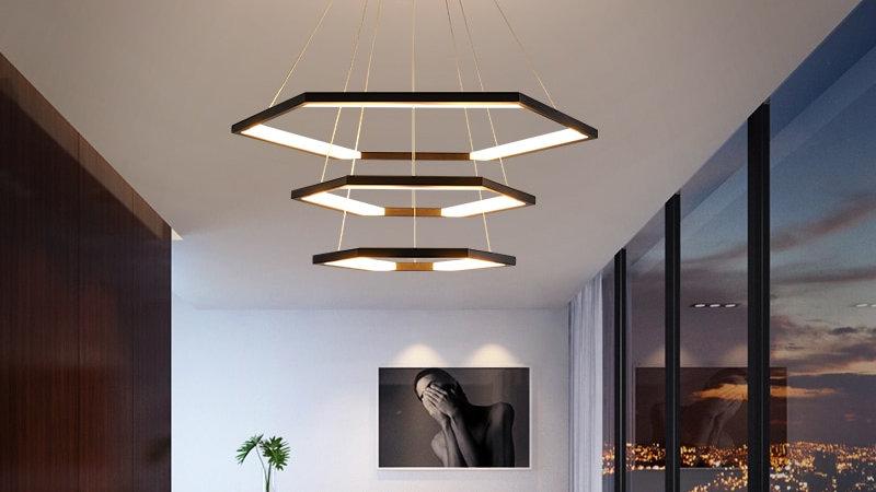 Modern Led Pendant Lights Black/White/Gold